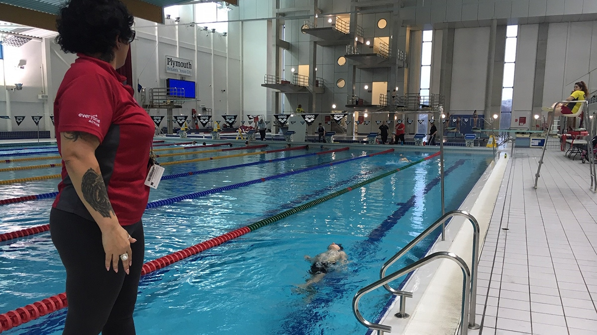 A para-swimmer in the pool at the South West development day in Plymouth