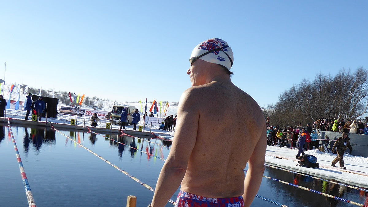 Rory Fitzgerald ready for the off at an ice swim