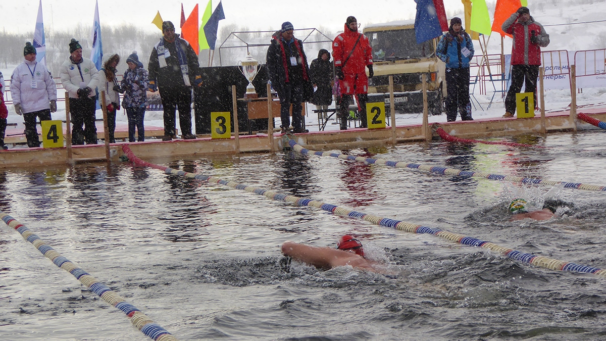 Rory Fitzgerald competing in an ice swim