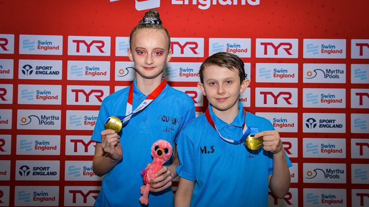 Aqualina took the gold medal in the 12 years and under mixed duet at the national Age Group Championships 2019