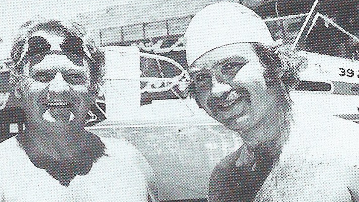Kevin Murphy and Des Renford before a race around Sydney Harbour in 1977