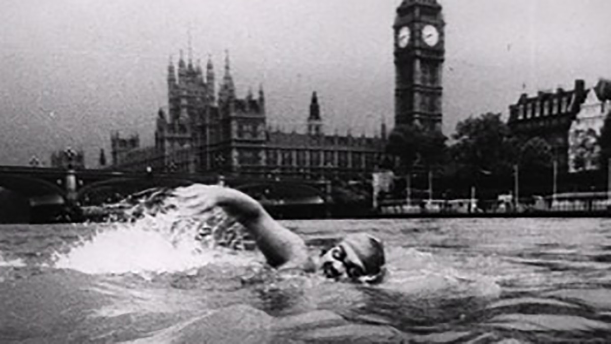 Kevin Murphy during his swim in the River Thames in 1980