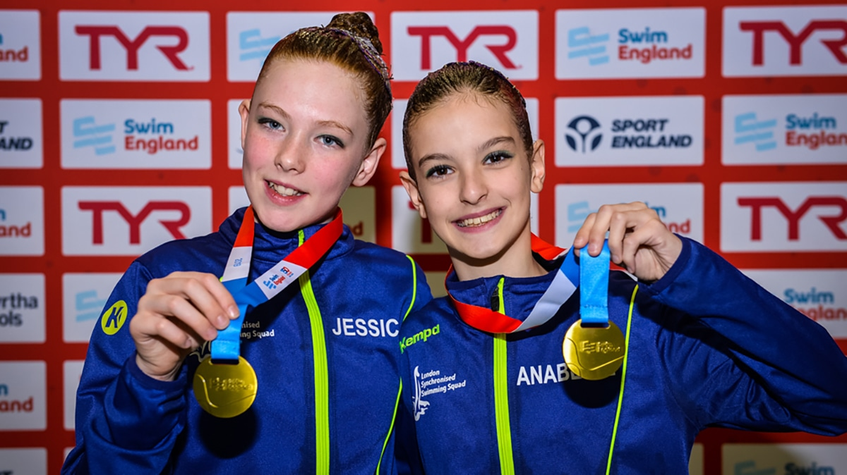 Jessica Hinxman and Annabelle Sangiorgio won gold in the 12 years and under duet at the National Age Group Championships 2019