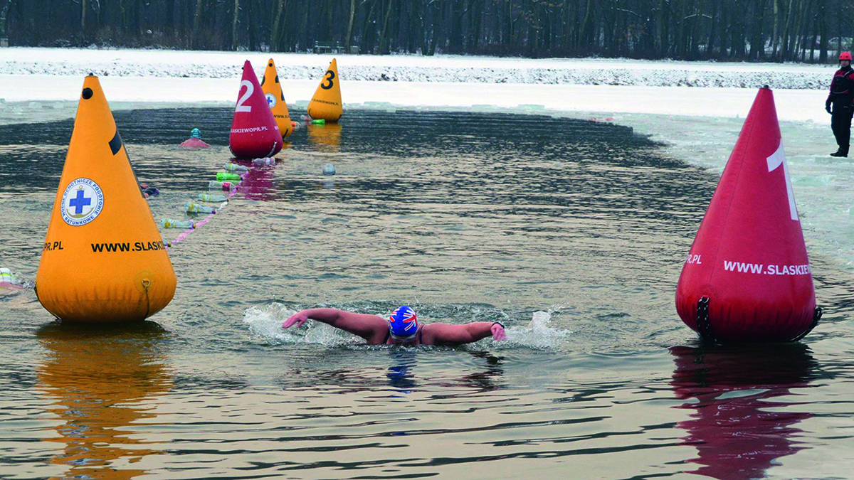 Pauline Barker completes an ice mile swim in Poland