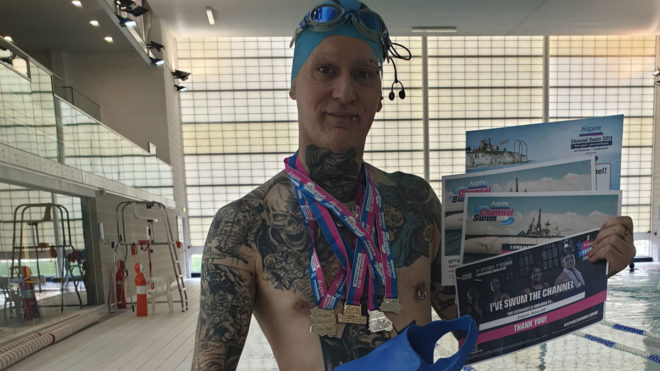 Swimming is Jason's 'lifeline to moving about' after accident left him temporarily paralysed