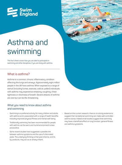 Example of a Swim England Health PDF Fact Sheet