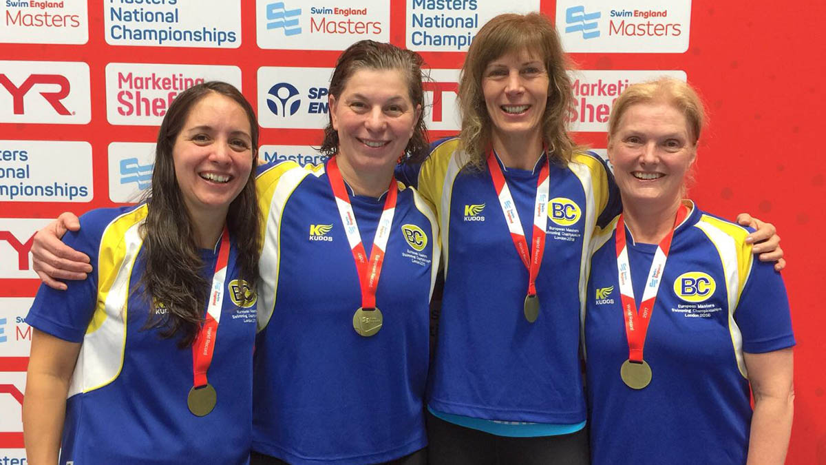 The Barnet Copthall Women's 400m Freestyle 200+ years age group team of Lisa Dawson, Cate Jackson, Melissa Cannon and Christine Porter