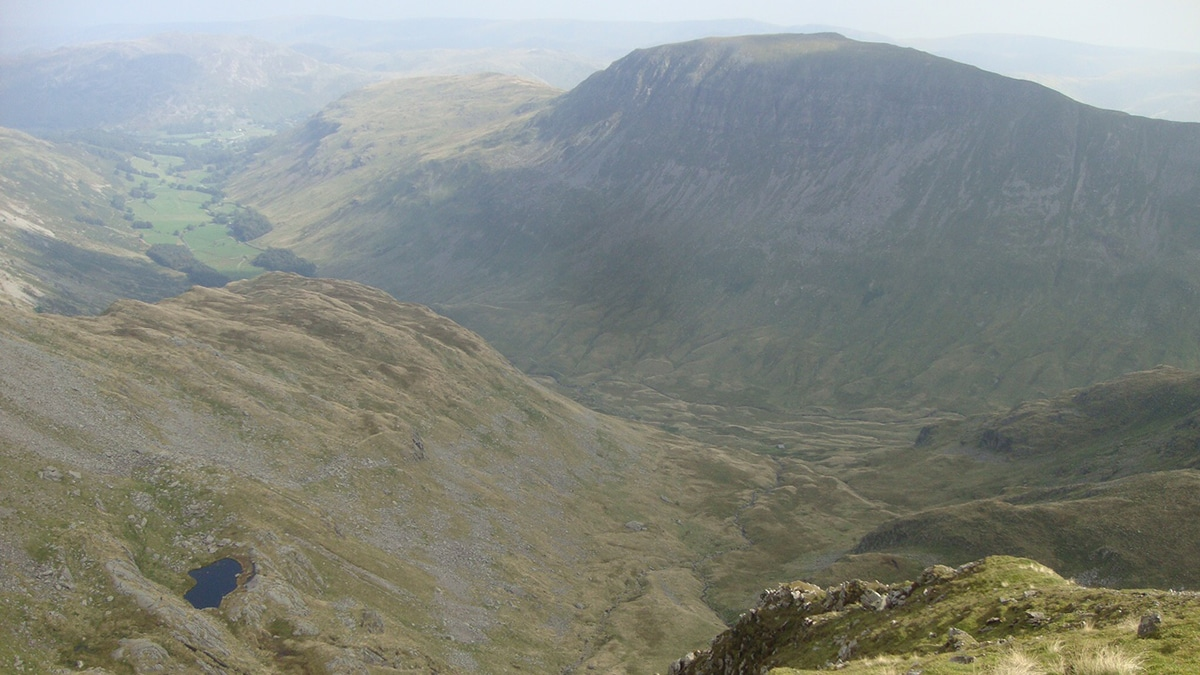 Hard Tarn, bottom left, in the Lake District from above