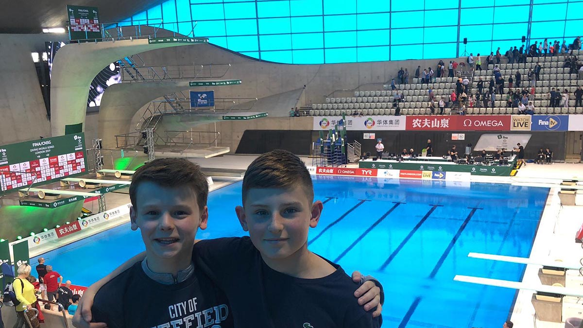 Jack Burrows and Zachary Anderson at the FINA Diving World Series at the London Aquatics Centre