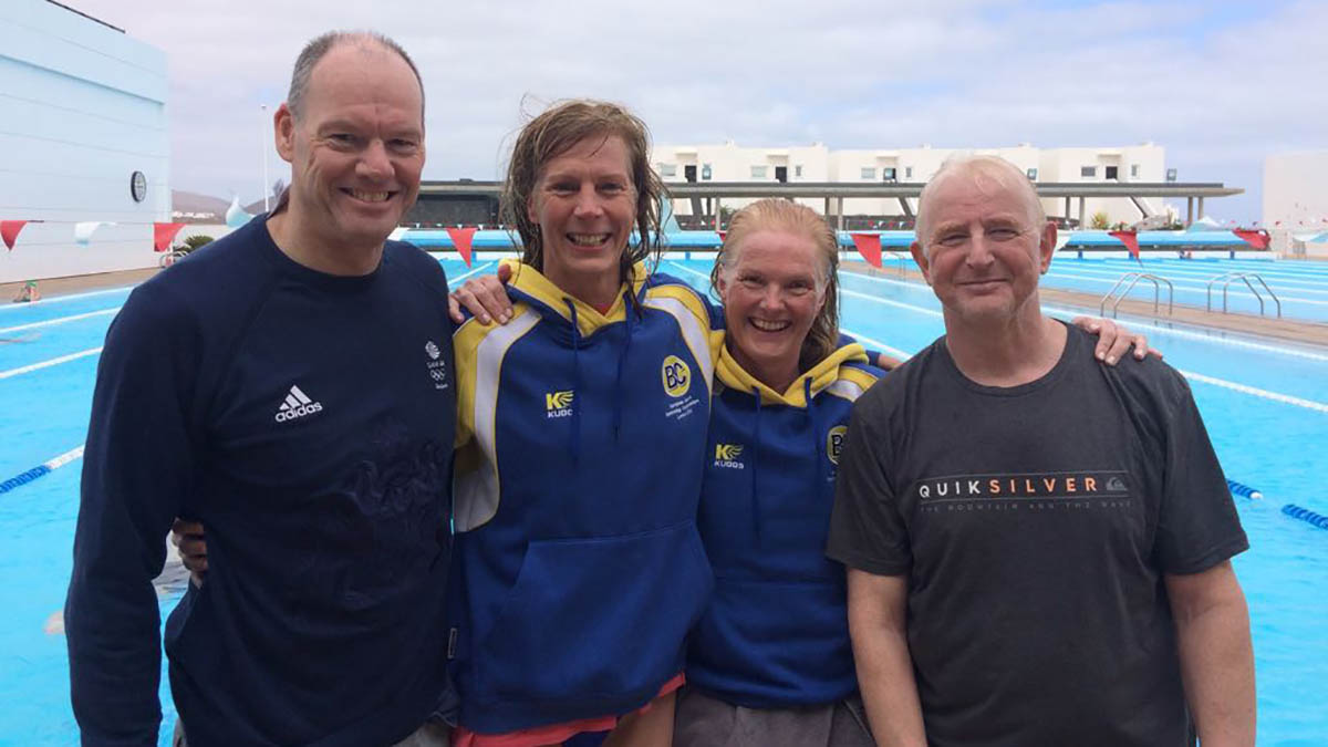 Barnet Copthall swimmers Mark Reynolds, Melissa Cannon, Christine Porter and Jim Hobsley
