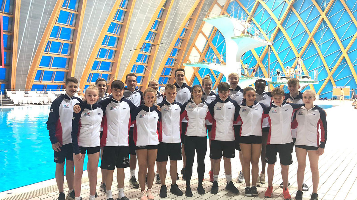 The Great Britain team competing at the European Junior Diving Championships in Kazan, Russia.