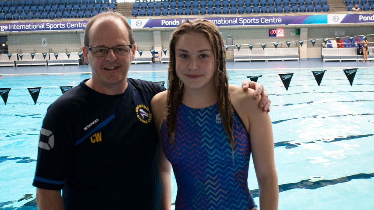 Maisie Kivlochan with her coach Chris White