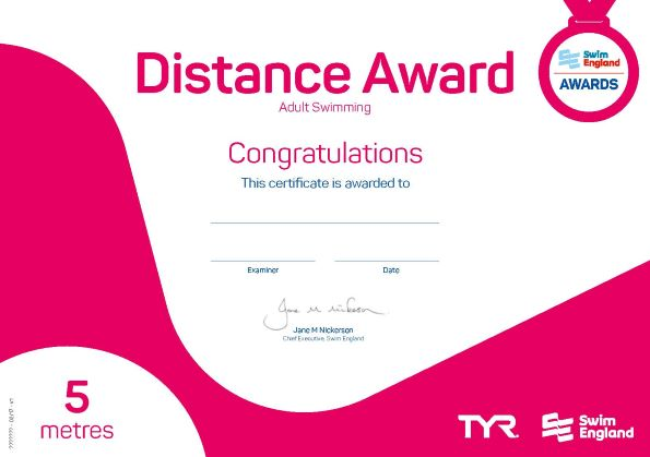 Swim England Adult Distance Award 5 metres