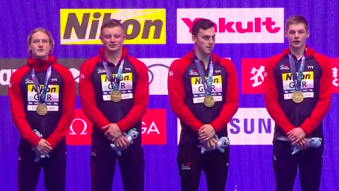 On top of the world... GB seal sensational gold in Men's 4x100m Medley Relay