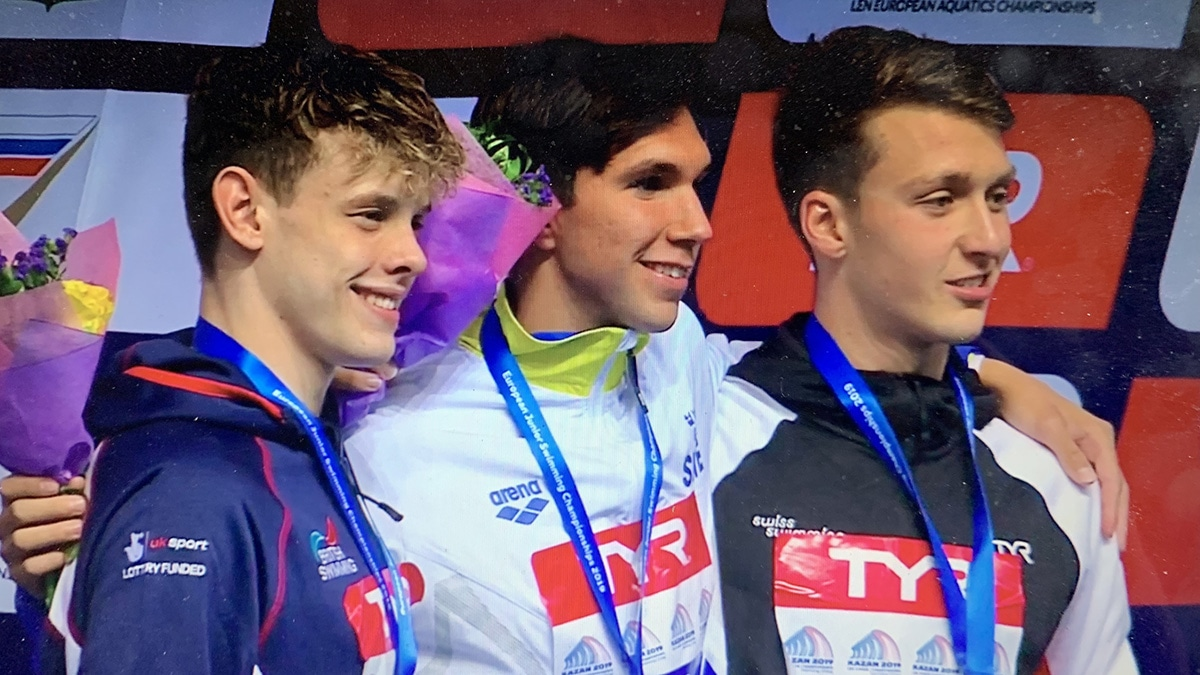 Matthew Richards won silver in the Men's 200m Freestyle final at the European Junior Championships