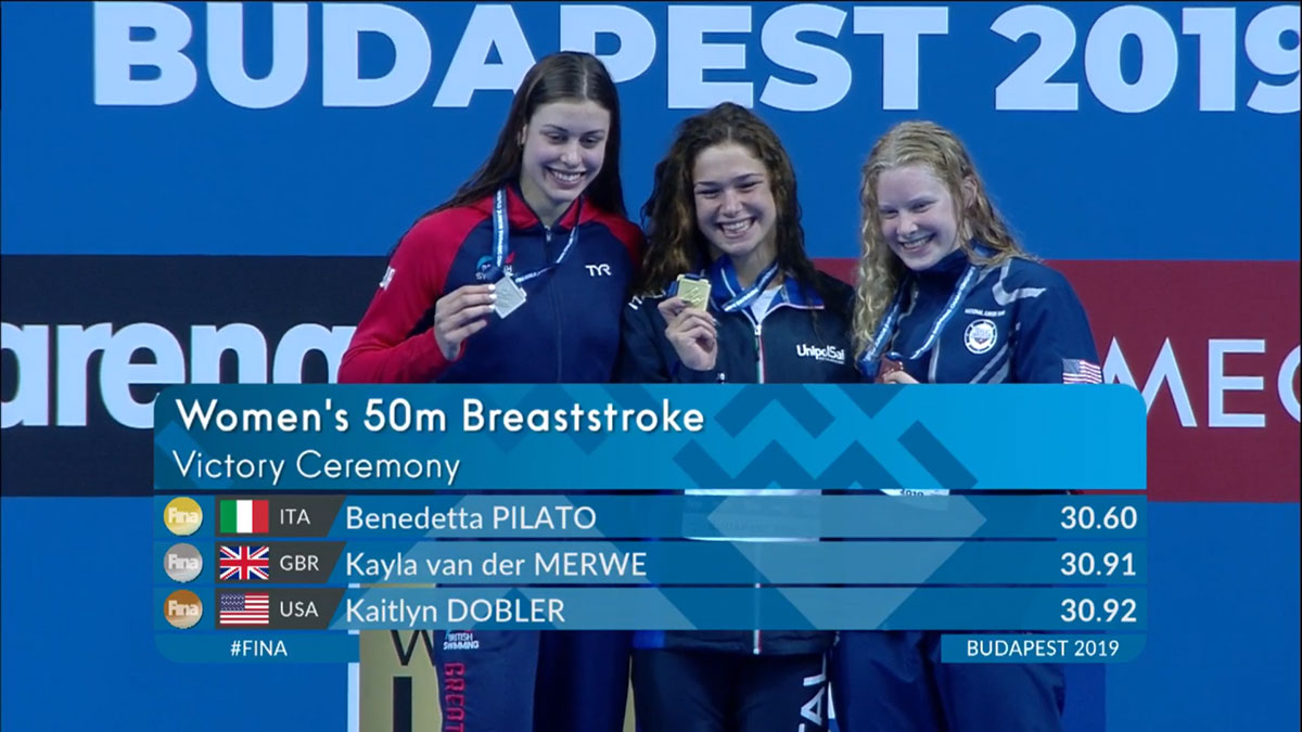 Kayla Van Der Merwe on podium with other medal winners