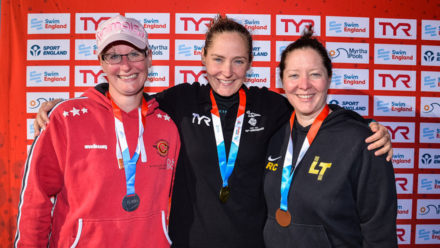 Four open water swimmers complete hat-trick of golds at National Masters Champs