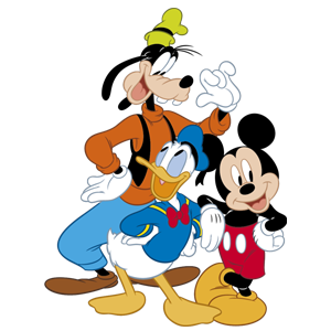 Disney characters Mickey Mouse, Donald Duck and Goofy