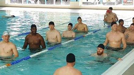 Super League and England Knights rugby league stars try a dip in the pool