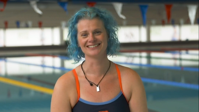 Swimming teacher Suzie 'feels at home' as she returns to the pool