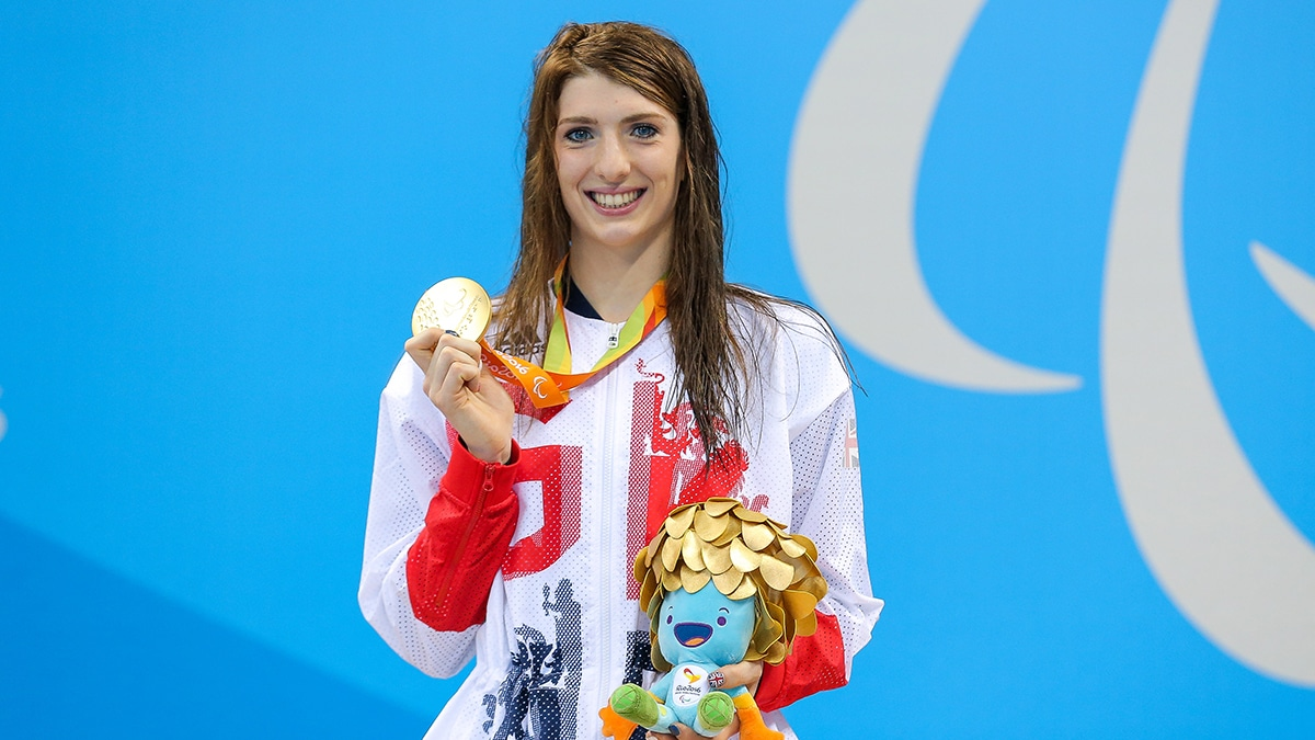 Bethany Firth with one of her four Rio 2016 Paralympic gold medals
