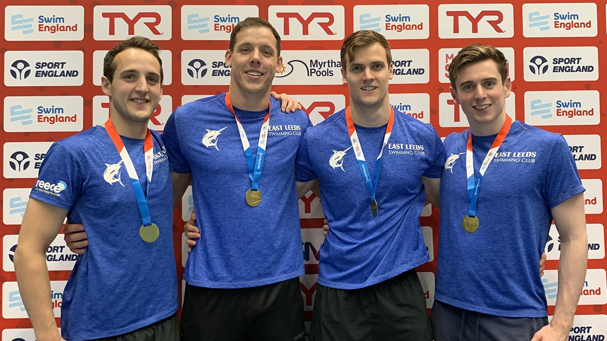 East Leeds set a new world record in the Men's 100+Years 400m Freestyle relay