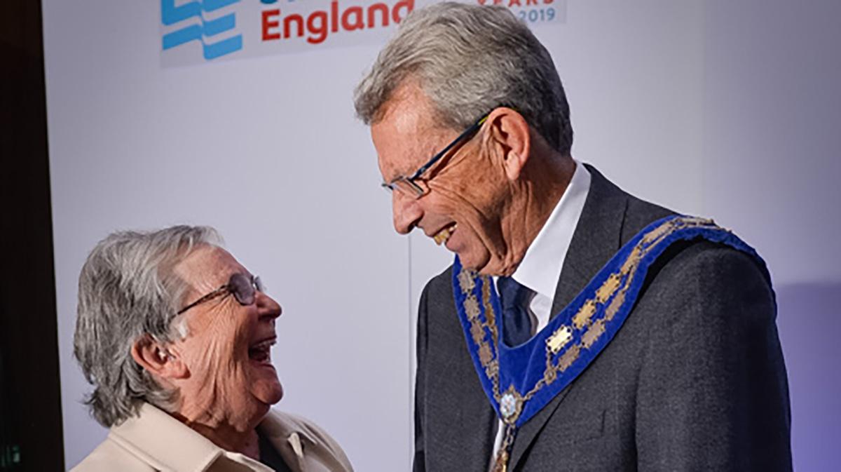 Former Swim England President Liz Sykes with her successor Ian Mackenzie