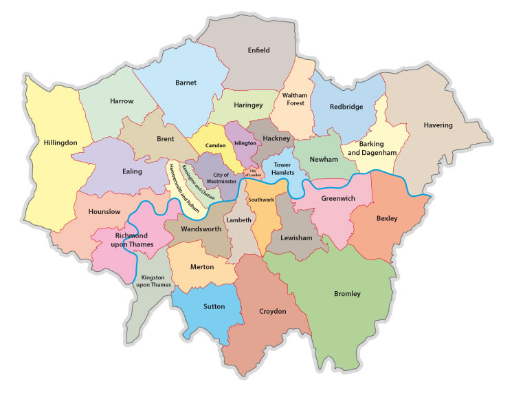 32 London boroughs on a map