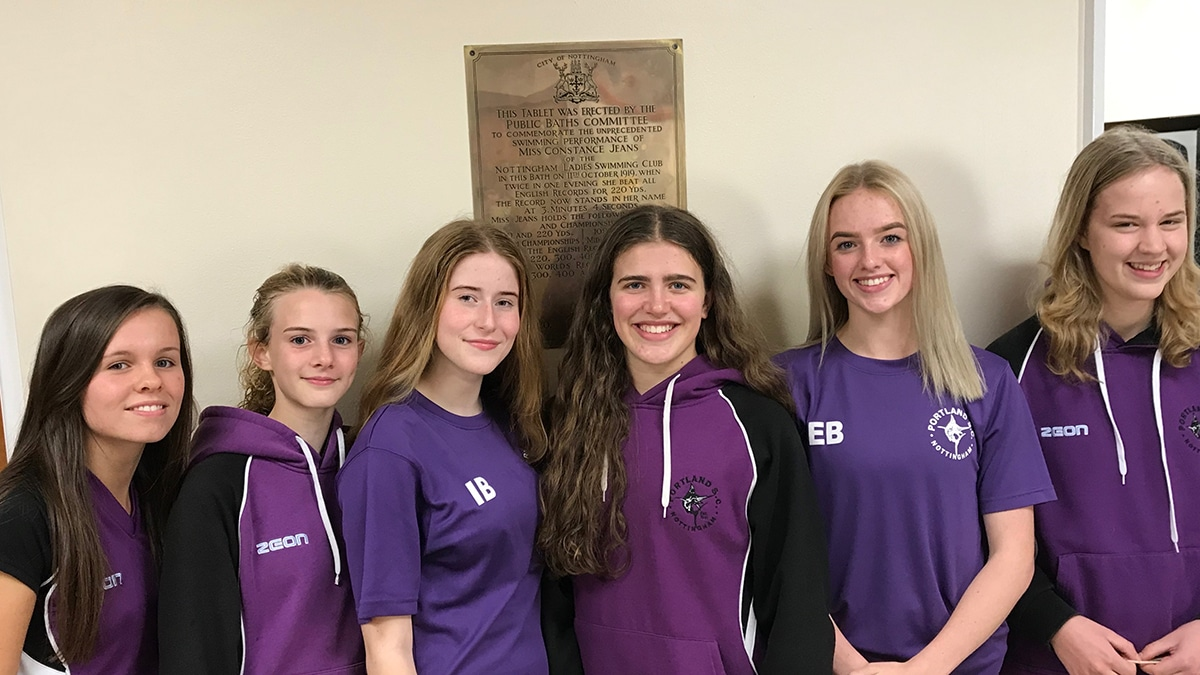 Some of the Nottingham Portland Swimming Club members that will be trying to break Constance Jeans' record set 100 years ago