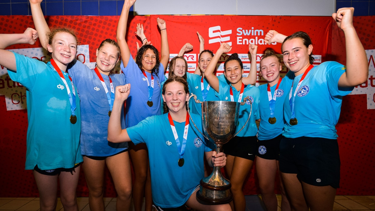 Otter celebrate after being crowned Swim England Water Polo National Age Group U15s girls champions