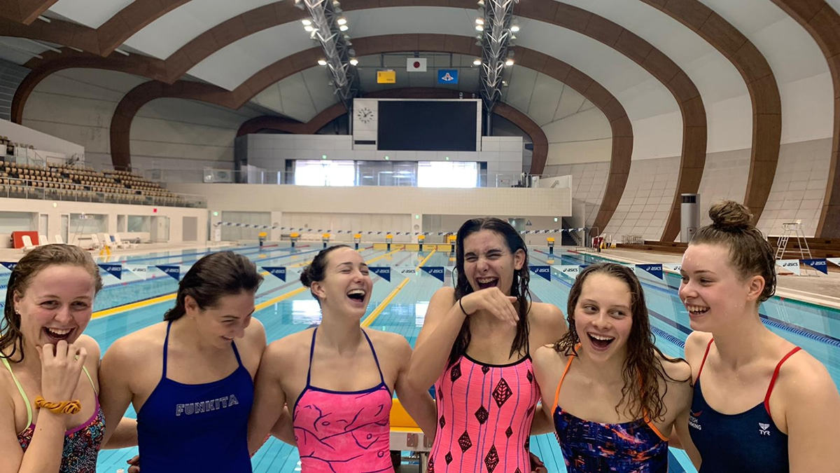 The six British swimmers during the training development camp in Japan