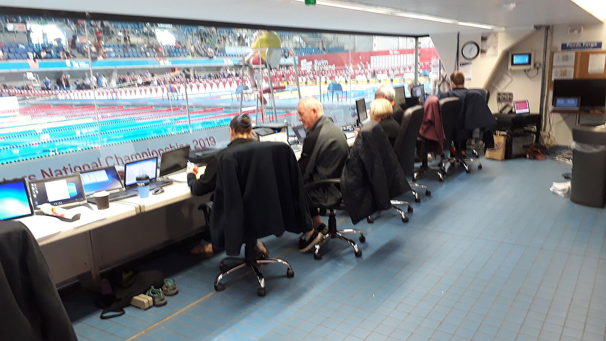 Bernie Buck working in timing suite at Ponds Forge, Sheffield