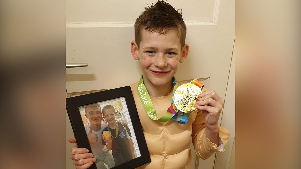 Jack Ward dressed up as Jack Laugher