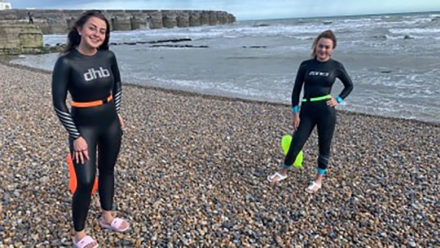 Teenage friends Gracie and Liv swim equivalent of English Channel for charity