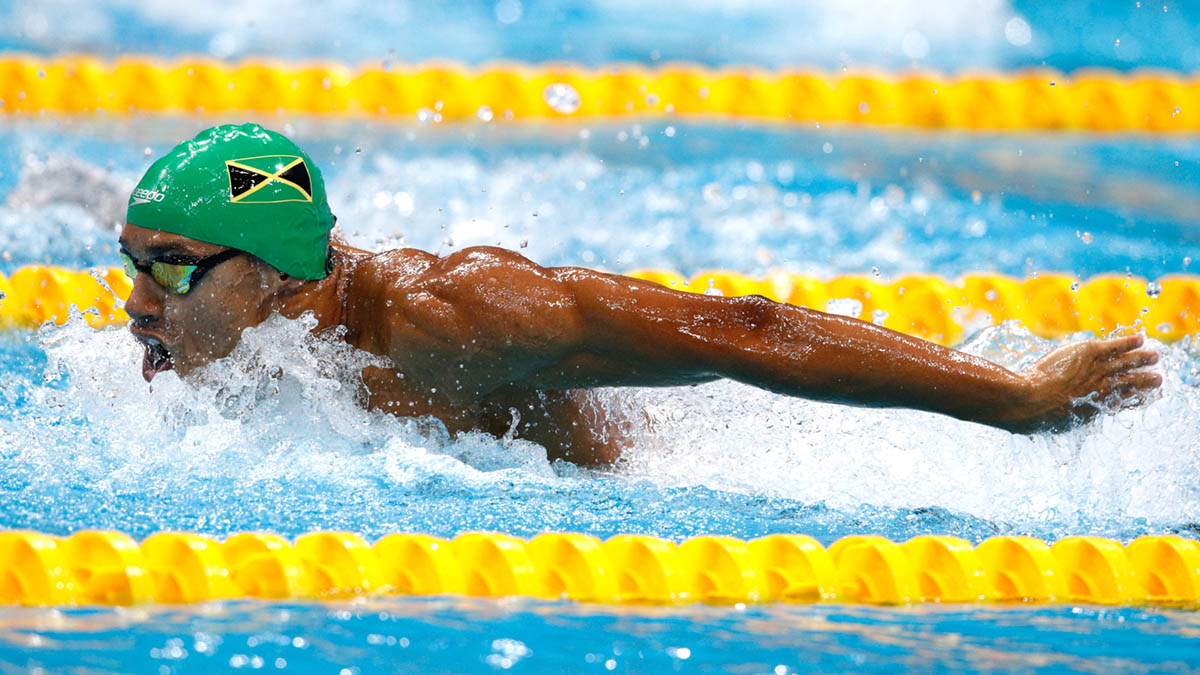 Michael Gunning in action for Jamaica at the World Championships
