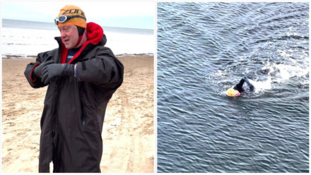 Energised Clive Newton urges hesitant open water swimmers to 'give it a go'