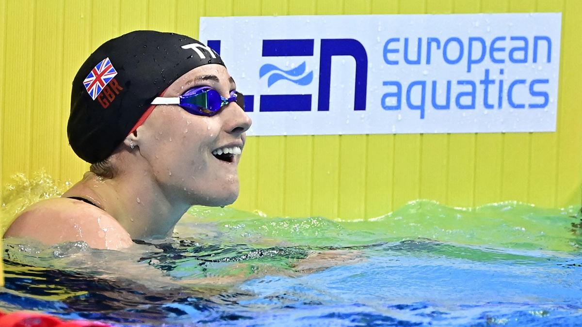 Molly Renshaw after setting a new British best in the Women's 100m Breaststrokesemi-final at the European Aquatics Championships