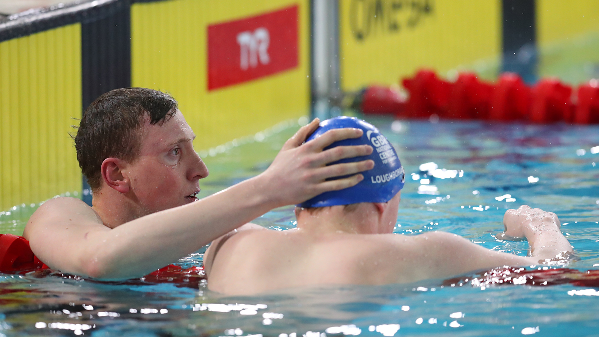 Max Litchfield consoles his brother Joe after competing in the Men's 400m IM final at the British Swimming Championships 2019